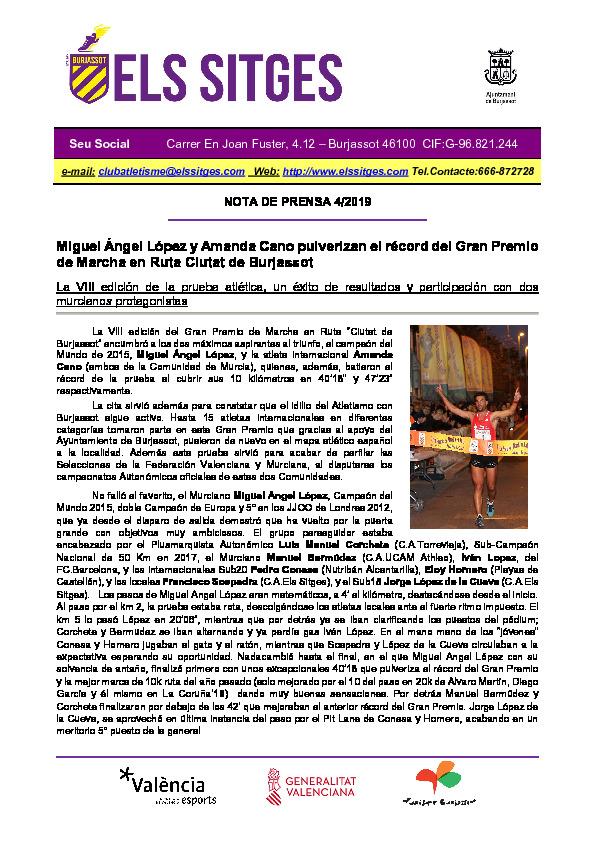 Gran Premio Marcha Burjassot - Cronica oficial